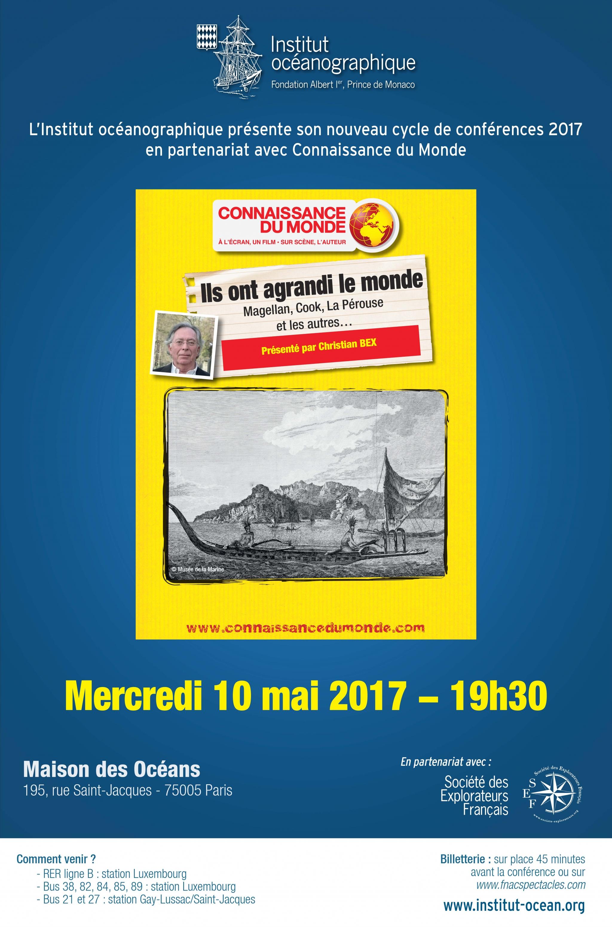 conférence, mer, histoire, maritime, Christian Bex, connaissance du monde, maison des océans, institut océanographique