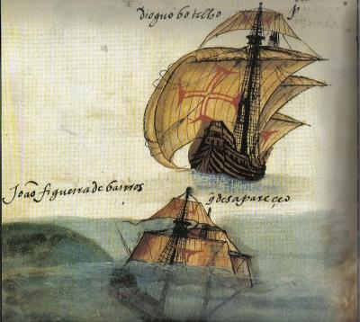 naufrágio de uma nau da armada de 1549 capitaneada por Diogo Botelho Pereira-livro de Lisuarte de Abreu.jpg