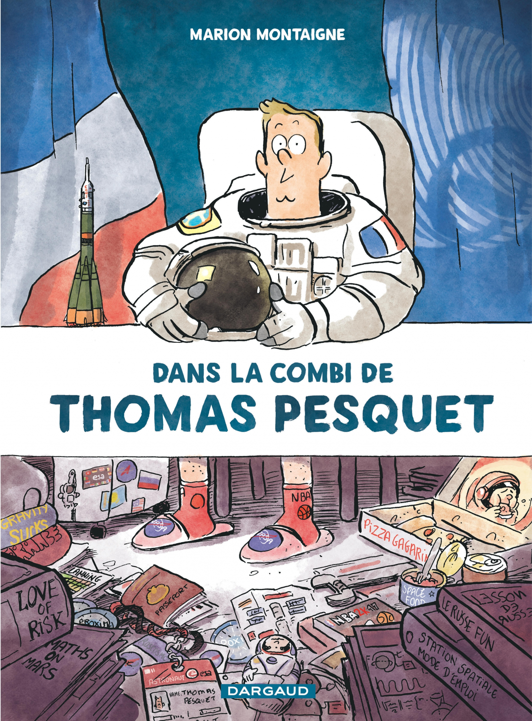 dans la combi de thomas pesquet,marion montaigne,astronaute,france,thomas pesquet,espace,bd,dargaud,exploration,aventure,spatiale